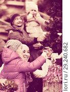 Купить «Family purchasing Christmas decoration and souvenirs», фото № 29240682, снято 24 марта 2019 г. (c) Яков Филимонов / Фотобанк Лори