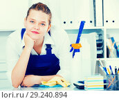 Купить «House worker woman is satisfied after cleaning», фото № 29240894, снято 9 июня 2017 г. (c) Яков Филимонов / Фотобанк Лори