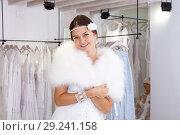 Купить «Woman dressed in white gown», фото № 29241158, снято 17 сентября 2018 г. (c) Яков Филимонов / Фотобанк Лори