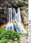 Купить «Радуга над Гегским водопадом. Абхазия», фото № 29247846, снято 26 июня 2018 г. (c) Евгений Ткачёв / Фотобанк Лори