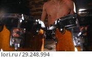 Купить «Shirtless drummer playing in studio. Drumsticks», видеоролик № 29248994, снято 8 июля 2020 г. (c) Константин Шишкин / Фотобанк Лори