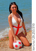 Купить «Ex Voice star the gorgeous Lydia Lucy goes all patriotic on the beach at Leigh on Sea Essex n her England themed bikini earlier today. Featuring: Voice...», фото № 29253510, снято 26 июня 2018 г. (c) age Fotostock / Фотобанк Лори