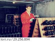 Купить «man wearing uniform working with bottle storage racks», фото № 29256894, снято 21 сентября 2016 г. (c) Яков Филимонов / Фотобанк Лори