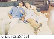 Купить «Happy Family are choosing sofa together», фото № 29257054, снято 19 июня 2017 г. (c) Яков Филимонов / Фотобанк Лори