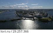 Купить «Flight over Spit of Vasilyevsky Island and Neva», видеоролик № 29257366, снято 7 сентября 2018 г. (c) Михаил Коханчиков / Фотобанк Лори