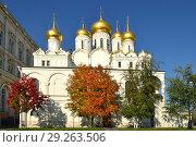 Купить «Picturesque autumn in Moscow Kremlin. Annunciation Cathedral (1484-1489). Russia», фото № 29263506, снято 15 октября 2018 г. (c) Валерия Попова / Фотобанк Лори