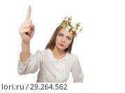 Купить «Woman queen wearing crown isolated on white», фото № 29264562, снято 7 октября 2015 г. (c) Elnur / Фотобанк Лори