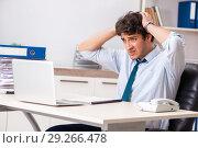 Купить «Overloaded busy employee with too much work and paperwork», фото № 29266478, снято 3 июля 2018 г. (c) Elnur / Фотобанк Лори