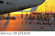 Купить «Hot exhaust from the aircraft auxiliary power unit», видеоролик № 29273614, снято 20 октября 2018 г. (c) Андрей Радченко / Фотобанк Лори