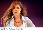 Купить «Woman with duck lips. Pin up girl wearing unbuttoned blouse and bra.», фото № 29273838, снято 21 октября 2018 г. (c) Gennadiy Poznyakov / Фотобанк Лори