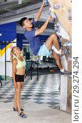 Купить «Couple of climbers on joint workout», фото № 29274294, снято 16 июля 2018 г. (c) Яков Филимонов / Фотобанк Лори