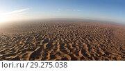 Aerial panorama in Sahara desert at sunrise (2018 год). Стоковое фото, фотограф Михаил Коханчиков / Фотобанк Лори