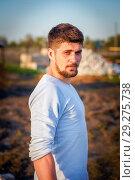 Купить «Portrait of a brave young man with a small beard.», фото № 29275738, снято 28 апреля 2016 г. (c) Акиньшин Владимир / Фотобанк Лори