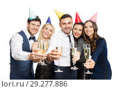 Купить «friends with champagne glasses at birthday party», фото № 29277886, снято 3 марта 2018 г. (c) Syda Productions / Фотобанк Лори