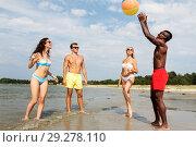 Купить «friends playing with beach ball in summer», фото № 29278110, снято 29 июля 2018 г. (c) Syda Productions / Фотобанк Лори