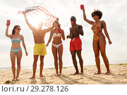 Купить «friends at american independence day beach party», фото № 29278126, снято 29 июля 2018 г. (c) Syda Productions / Фотобанк Лори
