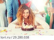 Купить «happy woman with birthday cake at home party», фото № 29280038, снято 3 сентября 2017 г. (c) Syda Productions / Фотобанк Лори