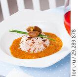 Купить «Chicken heart with rice and tomato and cream gravy», фото № 29289878, снято 26 января 2020 г. (c) Яков Филимонов / Фотобанк Лори