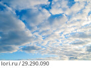 Купить «Blue sky background. White dramatic colorful clouds and sunlight. Beautiful sky landscape view», фото № 29290090, снято 29 марта 2018 г. (c) Зезелина Марина / Фотобанк Лори