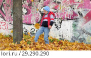 Купить «Autumn. Small children in the yellow leaves. Children play in the street with fallen leaves. Autumn grove of birches and maples. Happy kids on the street. boy walks through fallen autumn foliage. child kicks autumn leaves that fly high up.», видеоролик № 29290290, снято 13 октября 2018 г. (c) Константин Мерцалов / Фотобанк Лори