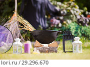 View of Halloween Pumpkins, witch's hat and rake outdoor. Стоковое фото, фотограф Дмитрий Травников / Фотобанк Лори