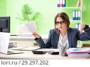 Купить «Female financial manager working in the office», фото № 29297202, снято 8 июня 2018 г. (c) Elnur / Фотобанк Лори