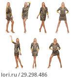 Купить «Blondie in gray satin dress isolated on white», фото № 29298486, снято 17 сентября 2014 г. (c) Elnur / Фотобанк Лори