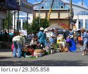 Купить «Уличная торговля с рук на Вокзальной площади в Сергиевом Посаде. Московская область», эксклюзивное фото № 29305858, снято 6 июля 2015 г. (c) lana1501 / Фотобанк Лори