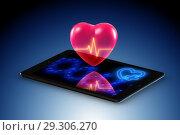 Купить «Telemedicine concept with remote monitoring of heart condition», фото № 29306270, снято 17 декабря 2018 г. (c) Elnur / Фотобанк Лори