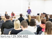 Купить «Business speaker giving a talk at business conference event.», фото № 29306602, снято 10 декабря 2018 г. (c) Matej Kastelic / Фотобанк Лори