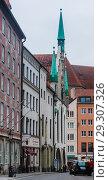 Купить «Late Gothic architecture, Old Town Hall and Talburgtor tower, oriel, historic centre, Munich, Upper Bavaria», фото № 29307326, снято 27 января 2018 г. (c) Николай Коржов / Фотобанк Лори