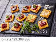 Купить «close-up of portions of Polenta Squares», фото № 29308886, снято 24 октября 2018 г. (c) Oksana Zh / Фотобанк Лори