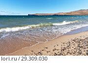 Купить «Baikal Lake. Coast of Olkhon Island on a sunny windy day of autumn. Beautiful landscape with waves on the sandy beach», фото № 29309030, снято 14 октября 2018 г. (c) Виктория Катьянова / Фотобанк Лори
