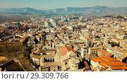 Купить «Aerial view of historic centre of Spanish town of Vic, Catalonia», видеоролик № 29309766, снято 6 марта 2018 г. (c) Яков Филимонов / Фотобанк Лори