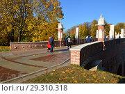 Купить «Москва. Фигурный мост в Царицынском парке осенью», эксклюзивное фото № 29310318, снято 15 октября 2018 г. (c) lana1501 / Фотобанк Лори