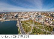 Купить «Панорама города Казани», фото № 29310838, снято 14 октября 2018 г. (c) Геннадий Соловьев / Фотобанк Лори