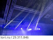 Купить «Stage lights. Soffits. Concert light», фото № 29311846, снято 27 июня 2019 г. (c) Евгений Ткачёв / Фотобанк Лори