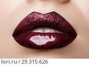 Купить «Close up view of beautiful woman lips», фото № 29315626, снято 20 декабря 2016 г. (c) Людмила Дутко / Фотобанк Лори