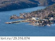 Купить «Top view of the Krasnoyarsk reservoir», фото № 29316074, снято 19 января 2019 г. (c) Владимир Пойлов / Фотобанк Лори