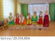 Folk dances of children theme abstract blur background with bokeh effect. Стоковое фото, фотограф Владимир Петров / Фотобанк Лори