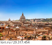 Купить «The domes and rooftops of the eternal city, the view from the Spanish steps. Rome, Italy», фото № 29317454, снято 14 сентября 2017 г. (c) Наталья Волкова / Фотобанк Лори