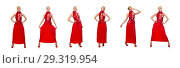 Купить «Blond hair model in dress with pomegranate isolated on white», фото № 29319954, снято 20 марта 2015 г. (c) Elnur / Фотобанк Лори