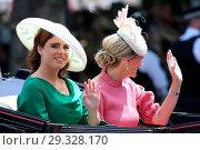 Купить «Trooping The Colour ceremony marking the Queen's 92nd Birthday Featuring: Princess Eugenie, Sophie, Countess of Wessex Where: London, United Kingdom When: 09 Jun 2018 Credit: WENN.com», фото № 29328170, снято 9 июня 2018 г. (c) age Fotostock / Фотобанк Лори