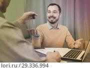 Купить «Mature man and manager contract car lease», фото № 29336994, снято 22 января 2019 г. (c) Яков Филимонов / Фотобанк Лори