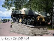 Купить «Боевая машина десанта на постаменте у ворот 103-й отдельной гвардейской воздушно-десантной бригады, г. Витебск», фото № 29359434, снято 8 июля 2016 г. (c) Free Wind / Фотобанк Лори