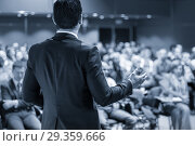 Купить «Public speaker giving talk at business event.», фото № 29359666, снято 16 ноября 2018 г. (c) Matej Kastelic / Фотобанк Лори