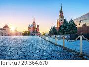 Купить «Красная Площадь на рассвете и голуби Red Square in Moscow and pigeons», фото № 29364670, снято 11 октября 2018 г. (c) Baturina Yuliya / Фотобанк Лори