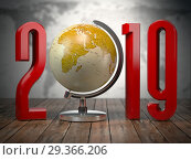 Купить «2019 happy new year globe.», фото № 29366206, снято 26 июня 2019 г. (c) Maksym Yemelyanov / Фотобанк Лори