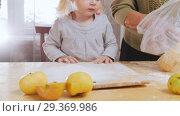 Купить «Family making little pies. Sifting flour. Little girl looking», видеоролик № 29369986, снято 6 июля 2020 г. (c) Константин Шишкин / Фотобанк Лори
