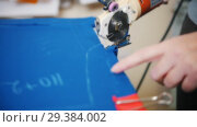 Купить «Dressmaker cutting fabric», видеоролик № 29384002, снято 6 августа 2020 г. (c) Константин Шишкин / Фотобанк Лори